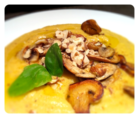 Sweet Potato, Champignon and Hazlenut Velouté