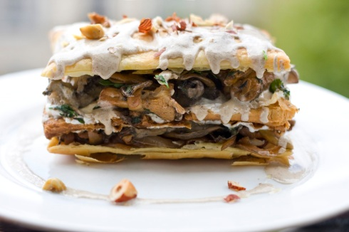 Mushroom mille-feuille with hazelnut creme