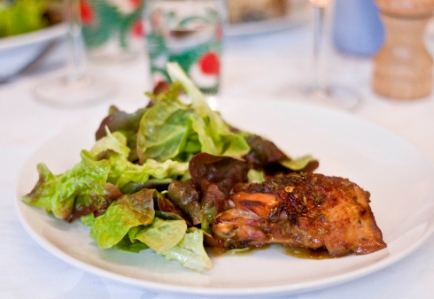 Sticky lemon and lavender roast chicken