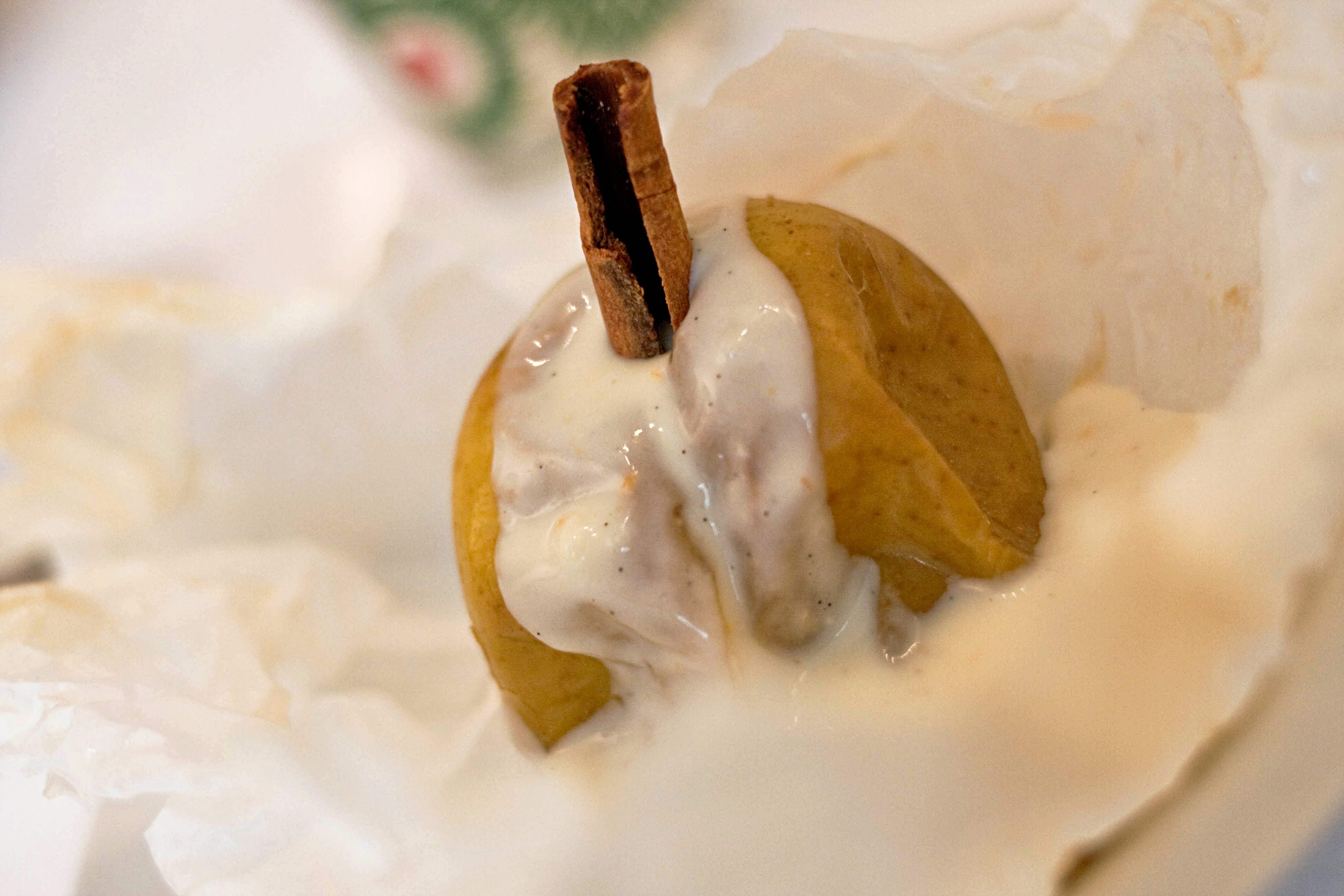 Spiced Baked Apple With Vanilla Creme Anglaise Bechamel