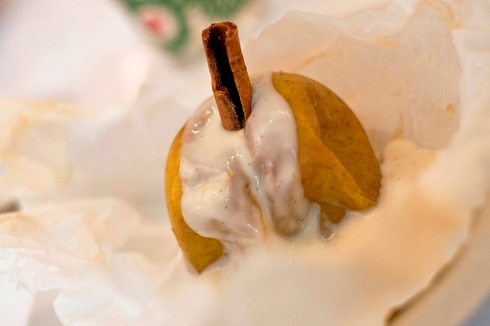 Spiced baked apple with vanilla crème anglaise bechamel