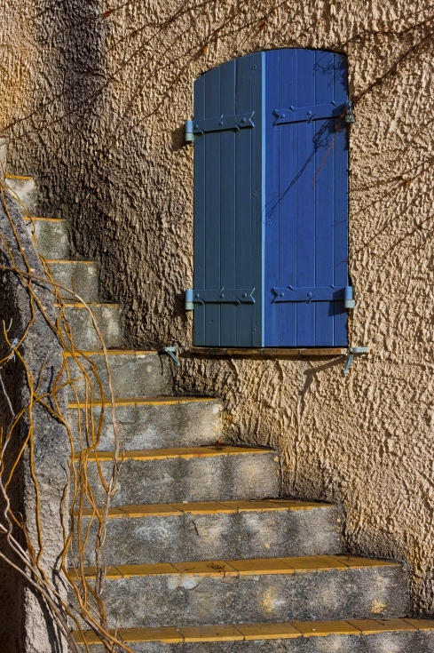 Blue french shutters