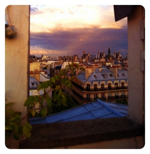 Paris terrace sunset view