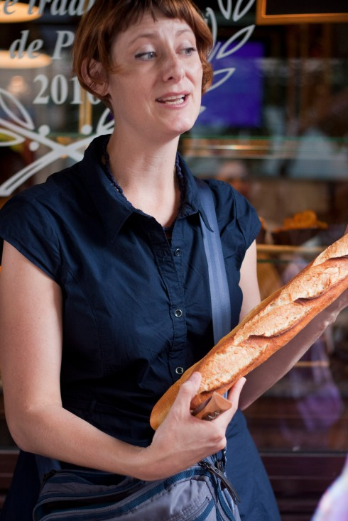 Meg Zimbeck with one of Paris' best Baguettes de Tradition