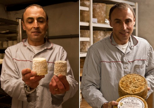 Philippe Alléosse with two goats cheeses at different stages of ripening and machengo