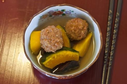 Japanese Hokkaido Pumkin and Chicken Dumplings in Bonito Broth - chez Yamashita